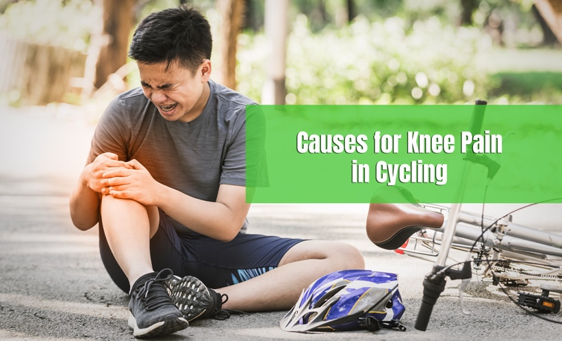 man suffers knee pain while cycling